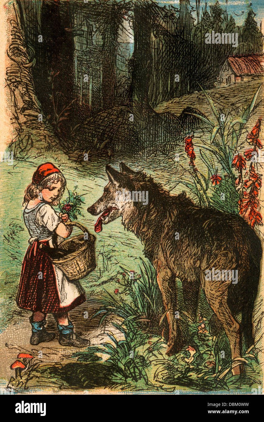 Little Red Riding Hood, from a Berlin edition of Grimms' Fairy Tales, 1865. Color plate - Stock Image