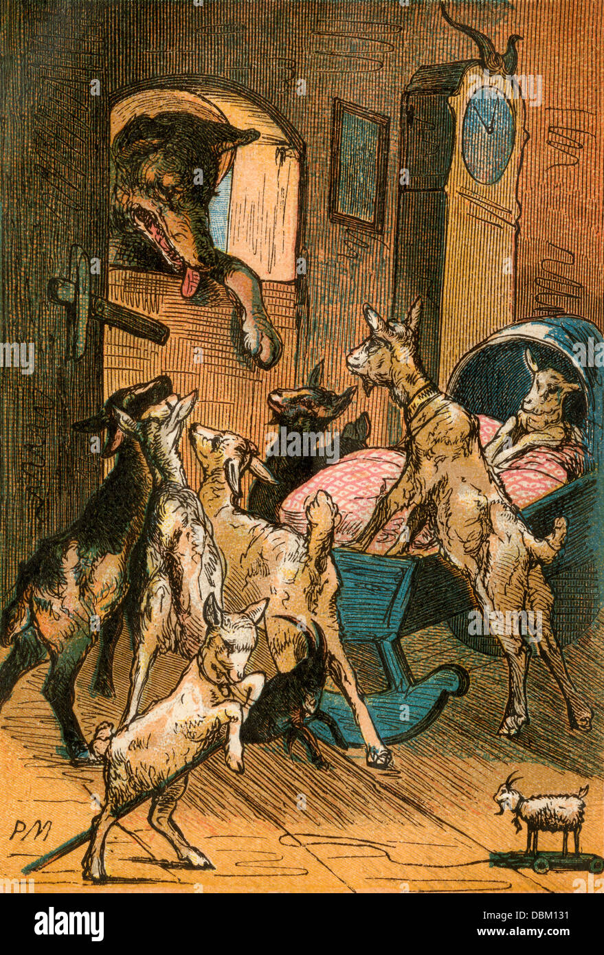 Wolf and Seven Little Goats, from a Berlin Edition of Grimms' Fairy Tales, 1865. Color plate - Stock Image