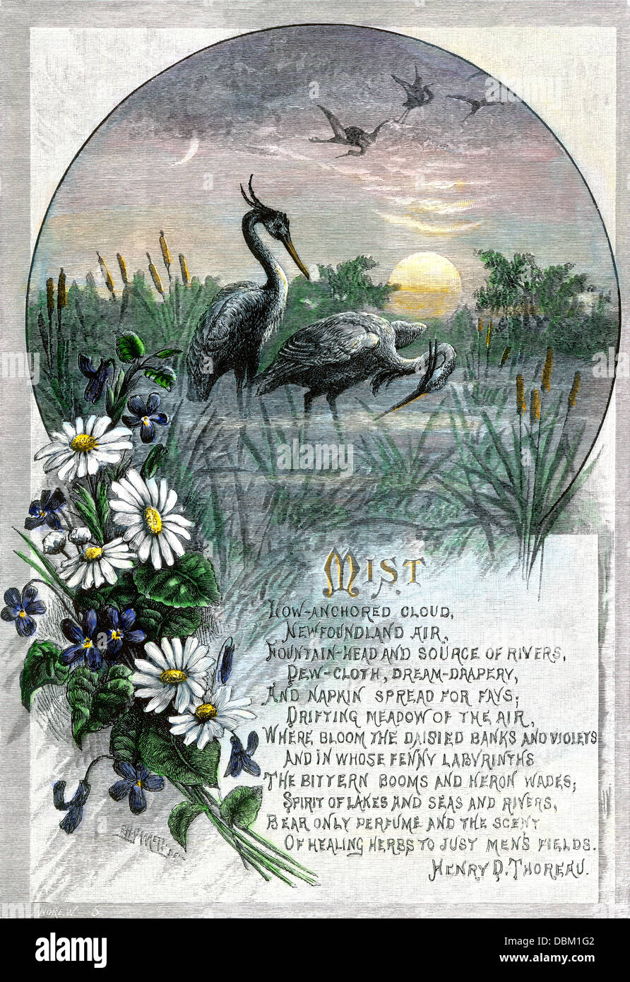 'Mist,' a poem by Henry David Thoreau. Hand-colored woodcut - Stock Image