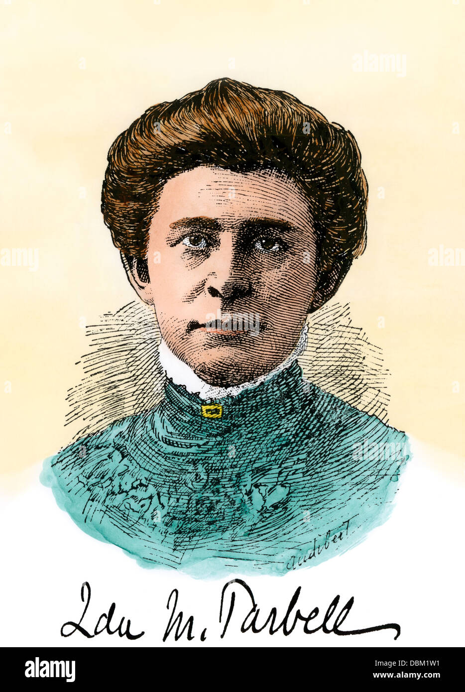 American reformer Ida Tarbell, with her signature. Hand-colored woodcut - Stock Image