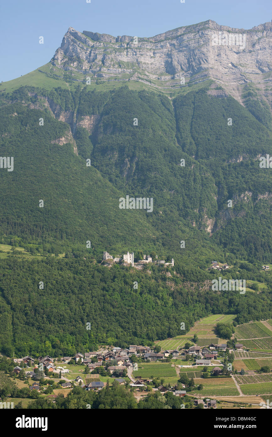Perched Medieval Castle Aerial View Miolans Castle At The Foot Of A Massive Cliff Savoie Rhone Alpes France