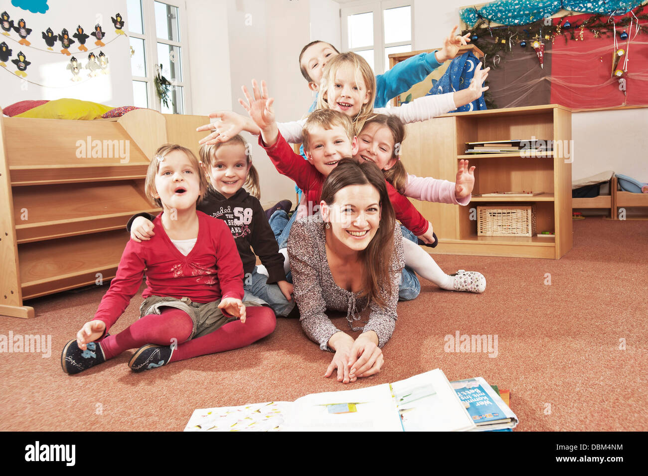 Children In Nursery School, Kottgeisering, Bavaria, Germany, Europe - Stock Image