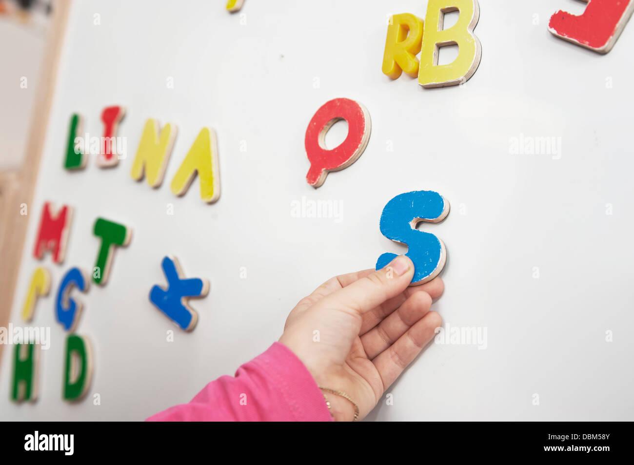 Capital Letters On Blackboard, Close-up, Kottgeisering, Bavaria, Germany, Europe - Stock Image