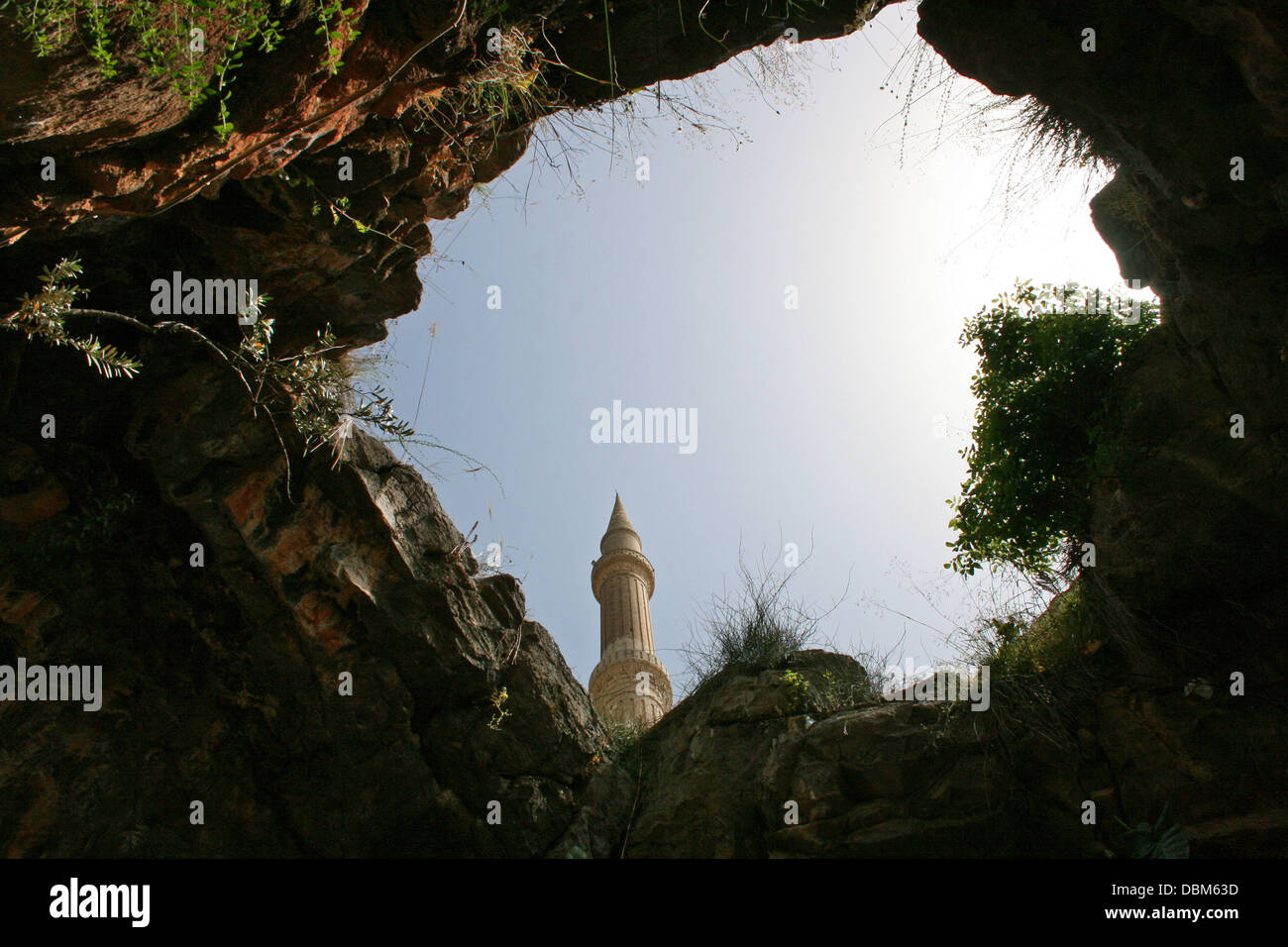 Minaret from Cave of The Seven Sleepers in Hatay, Turkey - Stock Image