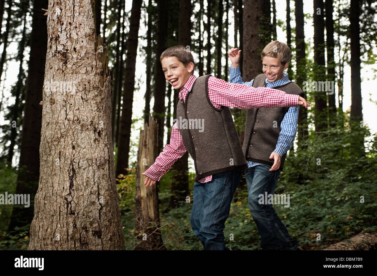 Two Boys Balancing On Tree Trunk In Forest, Bavaria, Germany, Europe - Stock Image