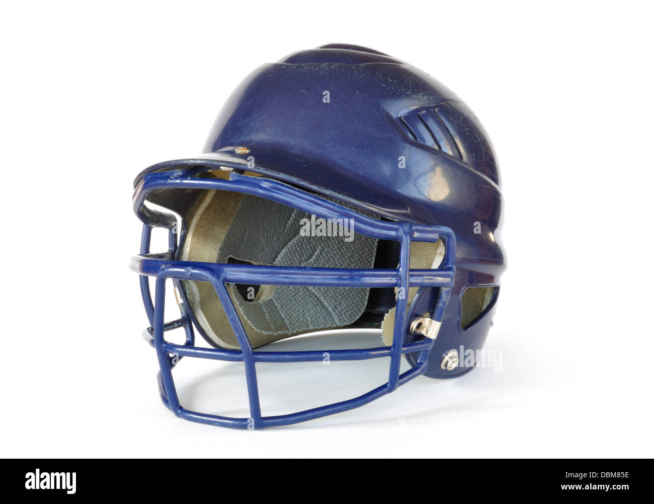 Blue Baseball helmet with a facemask - Stock Image