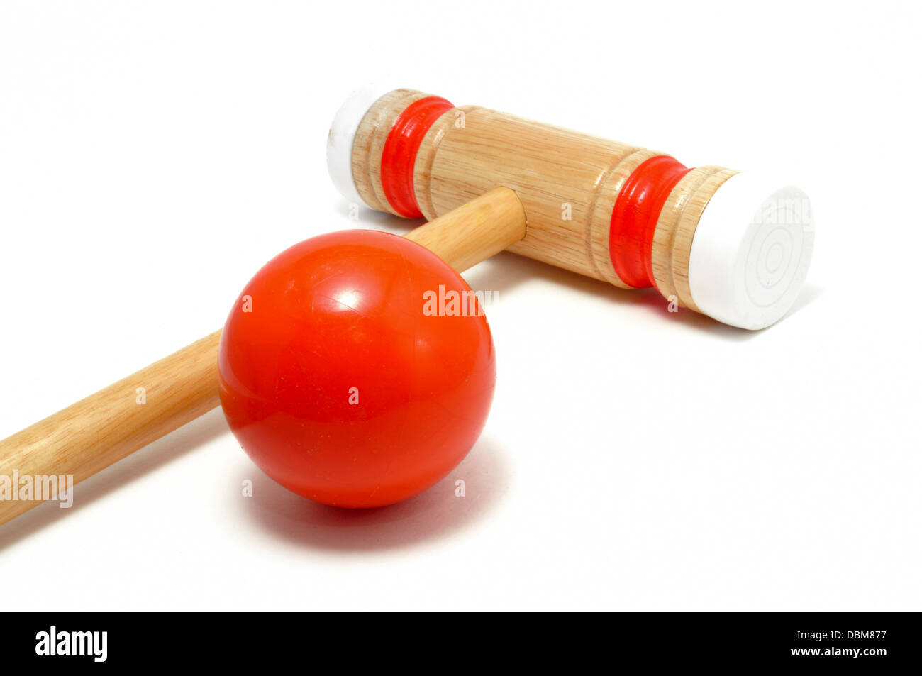 Croquet Mallet and Ball isolated on white - Stock Image