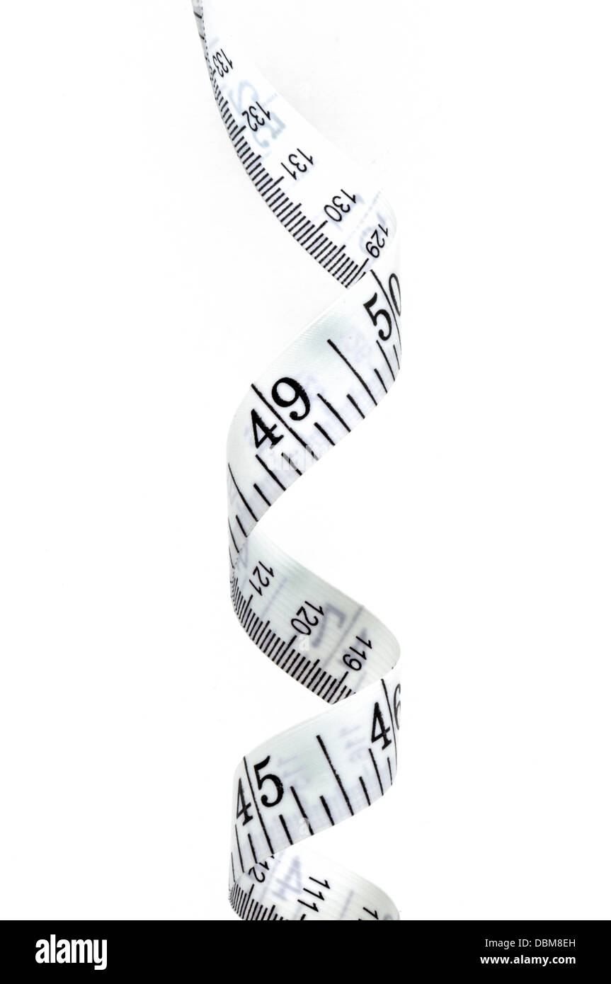 Tape measure isolated on a white background, vertical - Stock Image