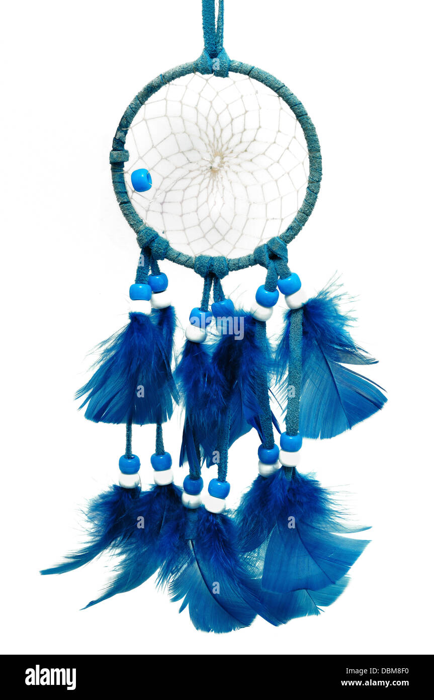 Blue Dreamcatcher with feathers and beads isolated on a white background - Stock Image