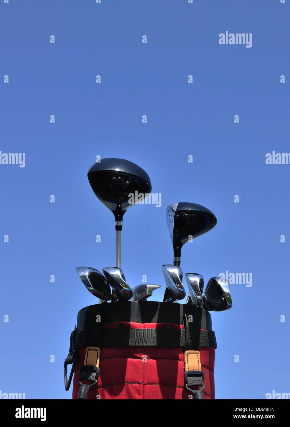 Set of Golf clubs in a golf bag - Stock Image