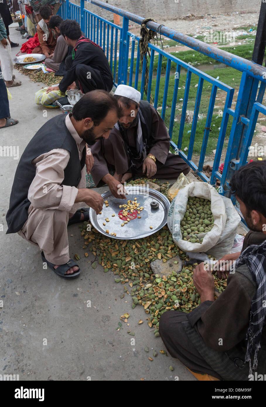 almond seller, bazaar, Kabul, Afghanistan Stock Photo