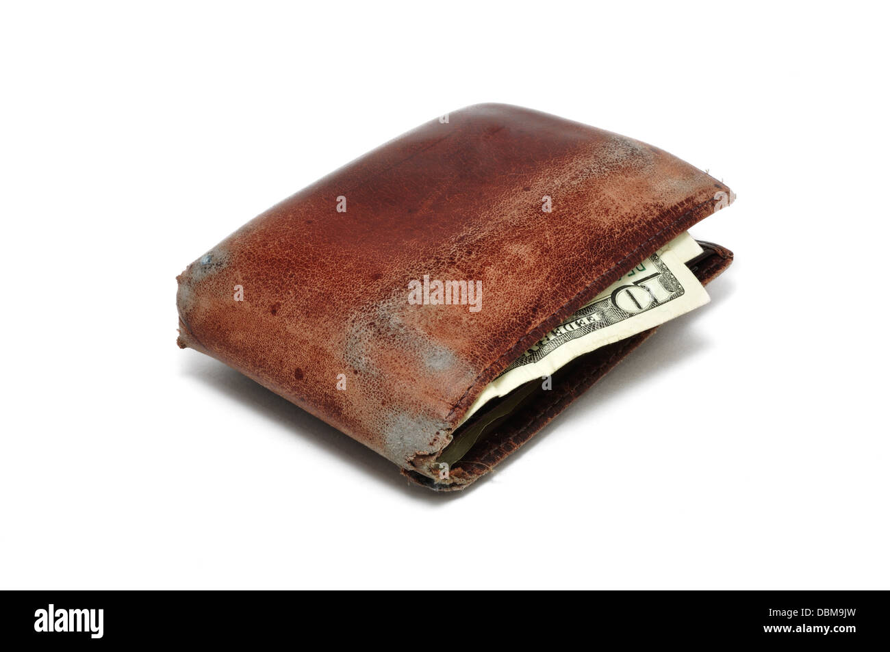 Old wallet with 10 dollar bill - Stock Image
