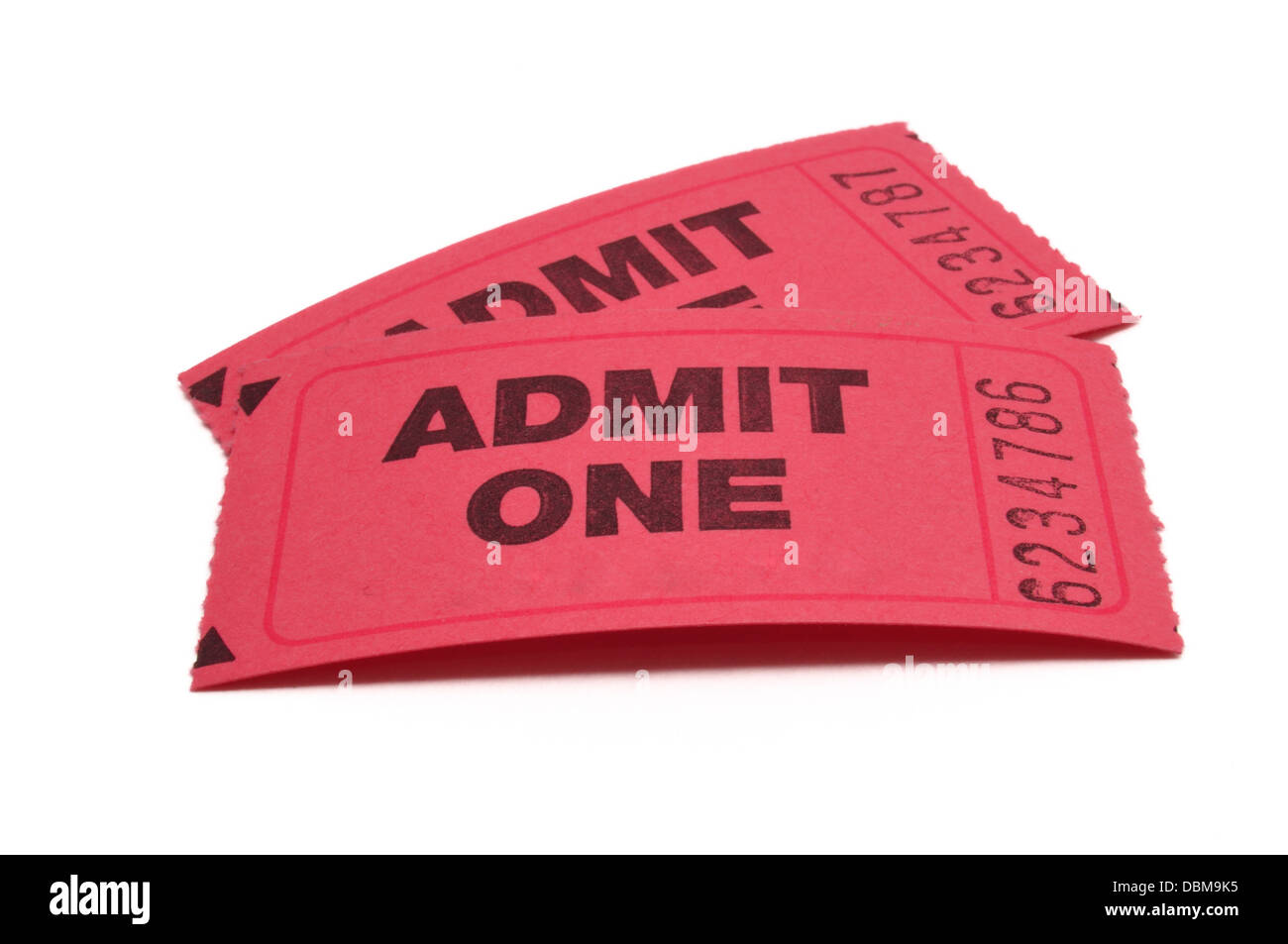 Two tickets - Admit One on white background cut out isolated - Stock Image