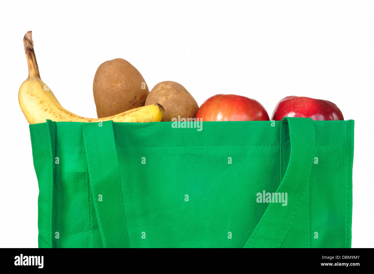 Shopping grocery bag with fruit and vegetables - Stock Image