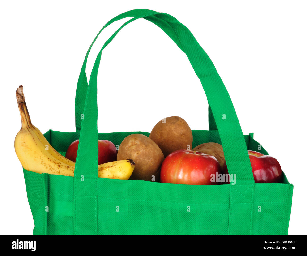 Shopping bag with fruit and vegetables - Stock Image