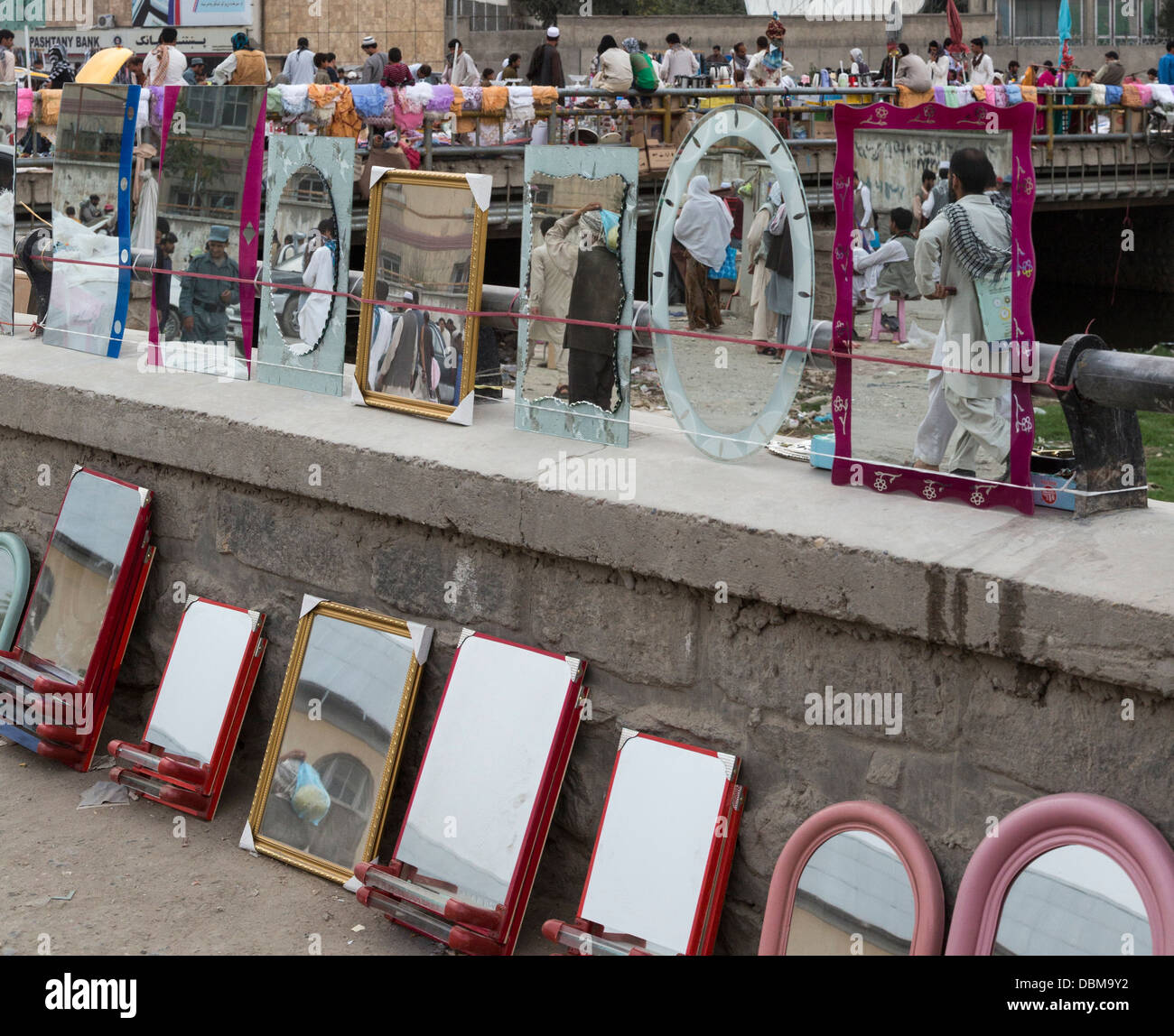 mirrors for sale, bazaar, Kabul, Afghanistan - Stock Image