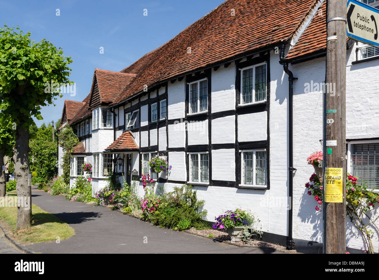 Black and white cottages in the Warwickshire village of Tanworth in Arden - Stock Image