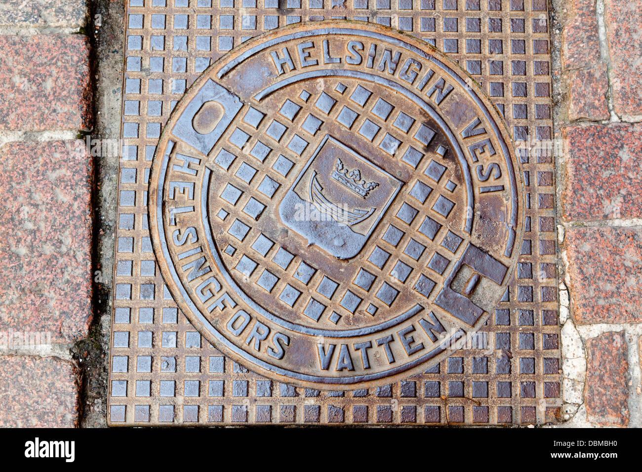 Manhole cover in  Helsinki - Stock Image