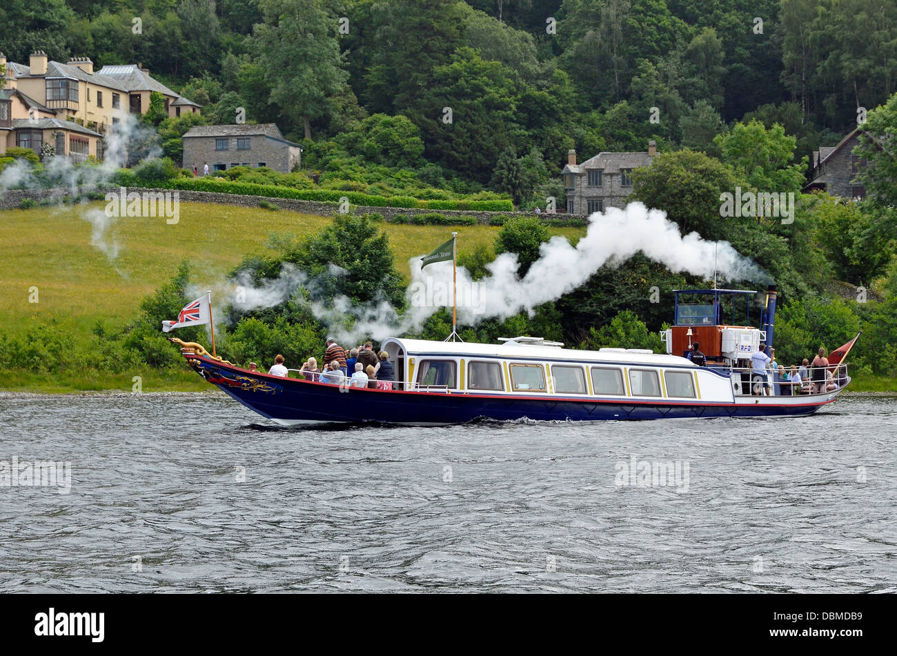 Steam yacht Gondola is a rebuilt Victorian, screw-propelled, steam-powered passenger vessel on Coniston Water, England - Stock Image