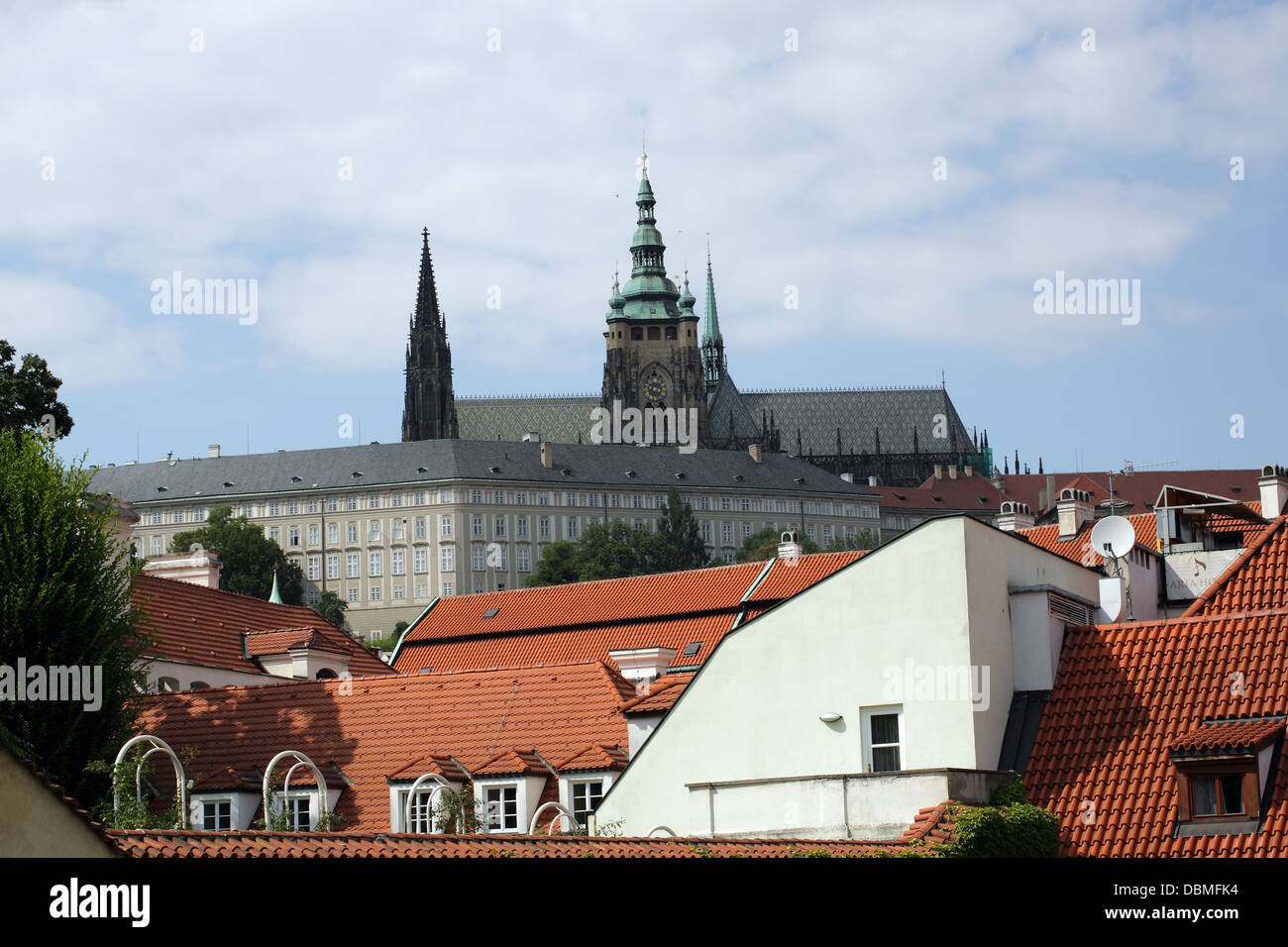 View to part of Prague Castle from Vrtbovska garden, one of the most important baroque gardens in Prague. Situated - Stock Image