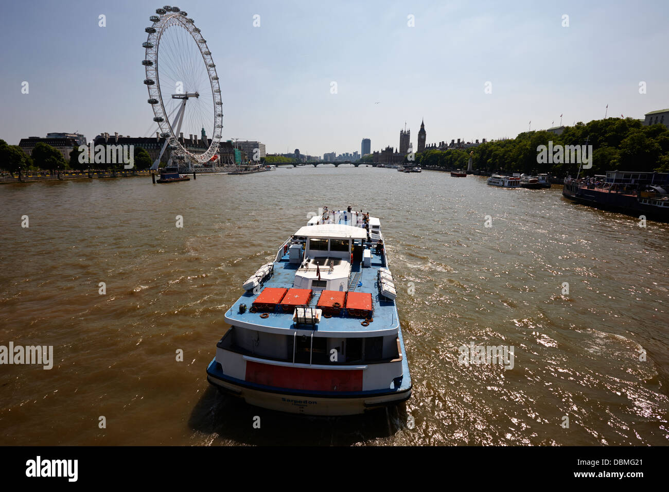 crown river cruises sarpedon boat on the river thames London England UK - Stock Image