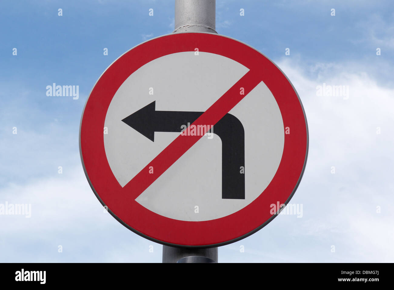 no turn left sign - Stock Image
