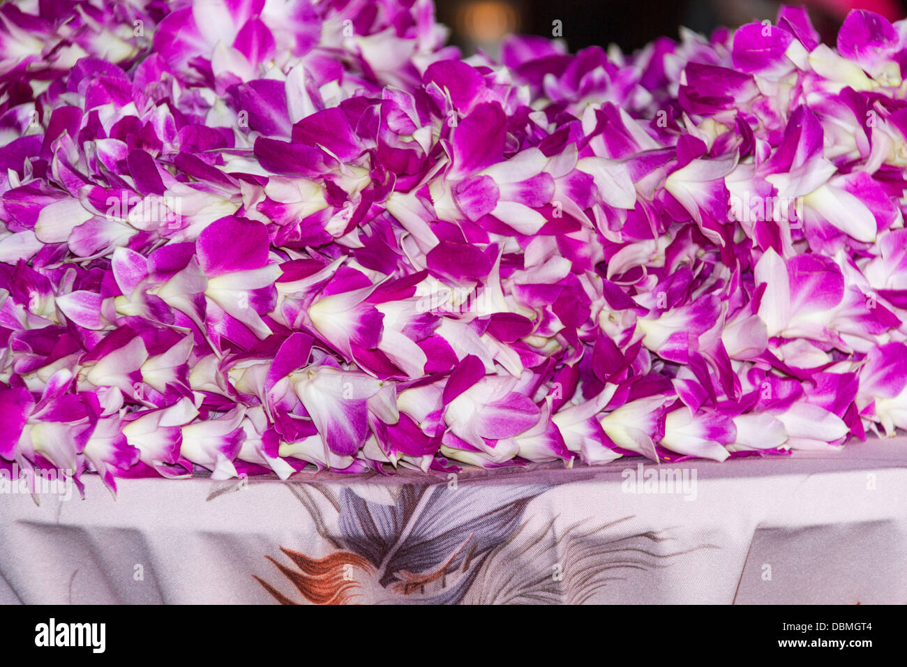 Wecome Leis given to tourists arriving on Maui in Hawaii. - Stock Image