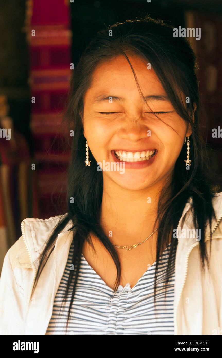 Elk209-1023v Laos, Luang Prabang, smiling Laotian girl - Stock Image