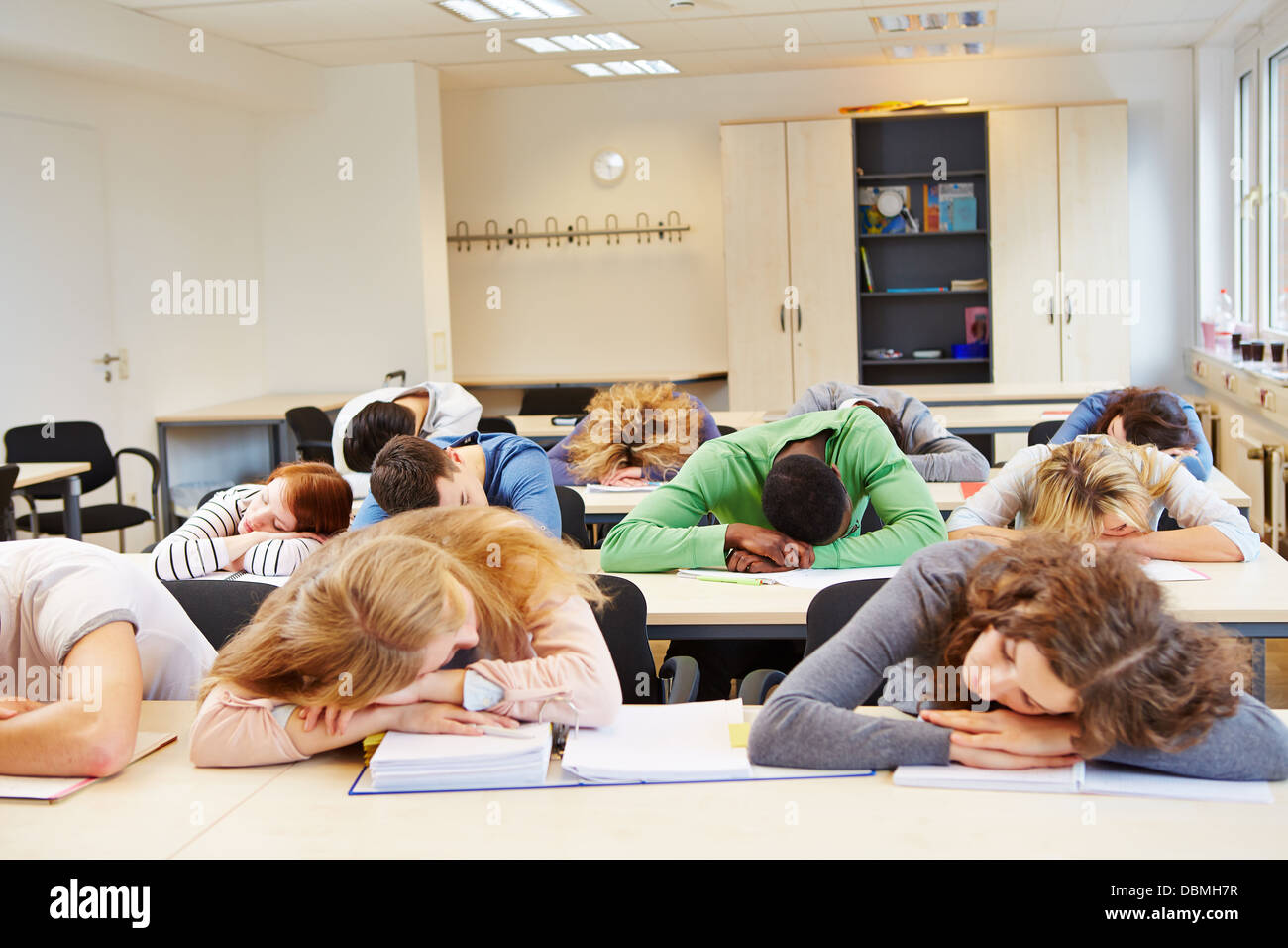 Sleeping student in class