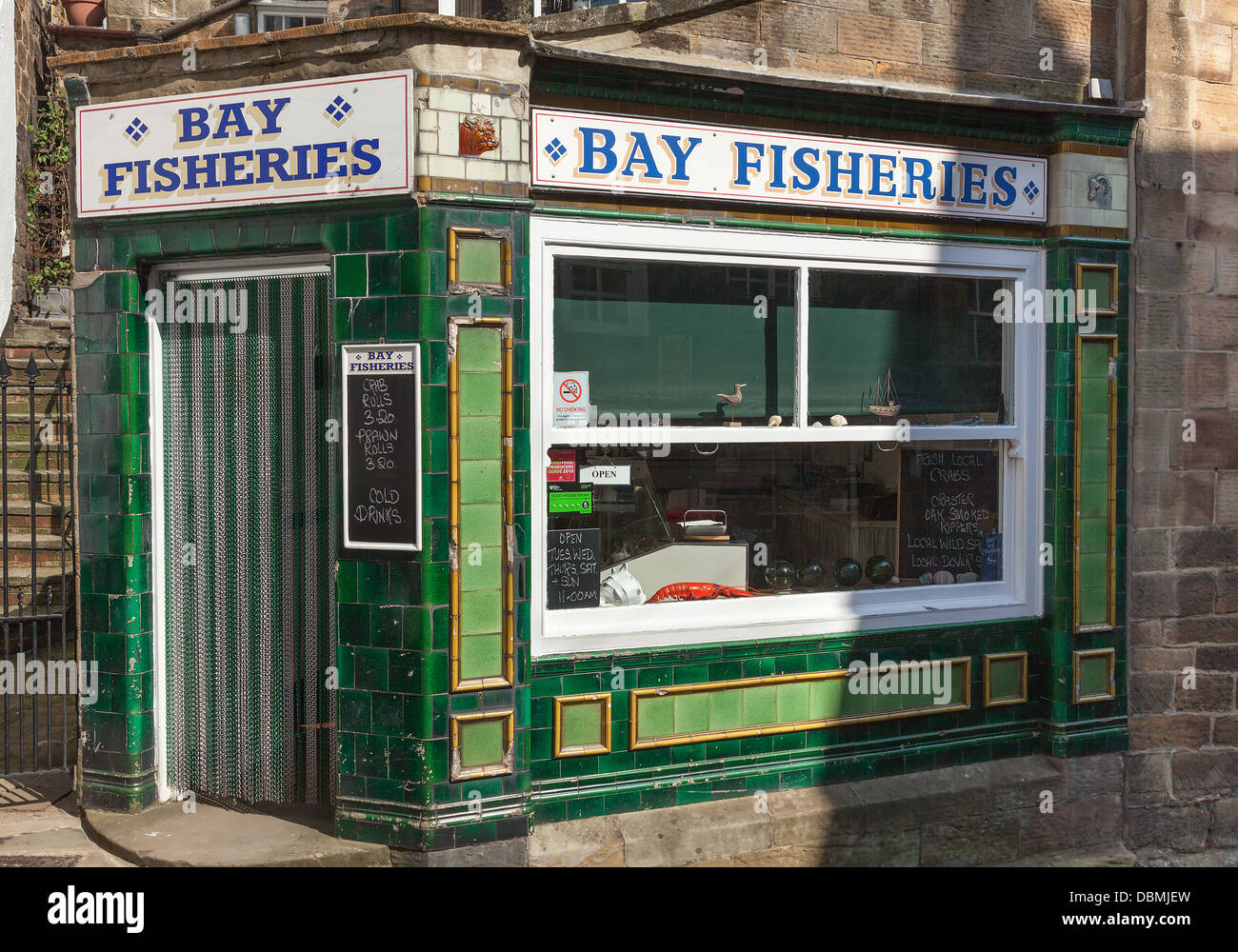 Robin Hood's Bay Yorkshire Bay Fisheries Shop - Stock Image