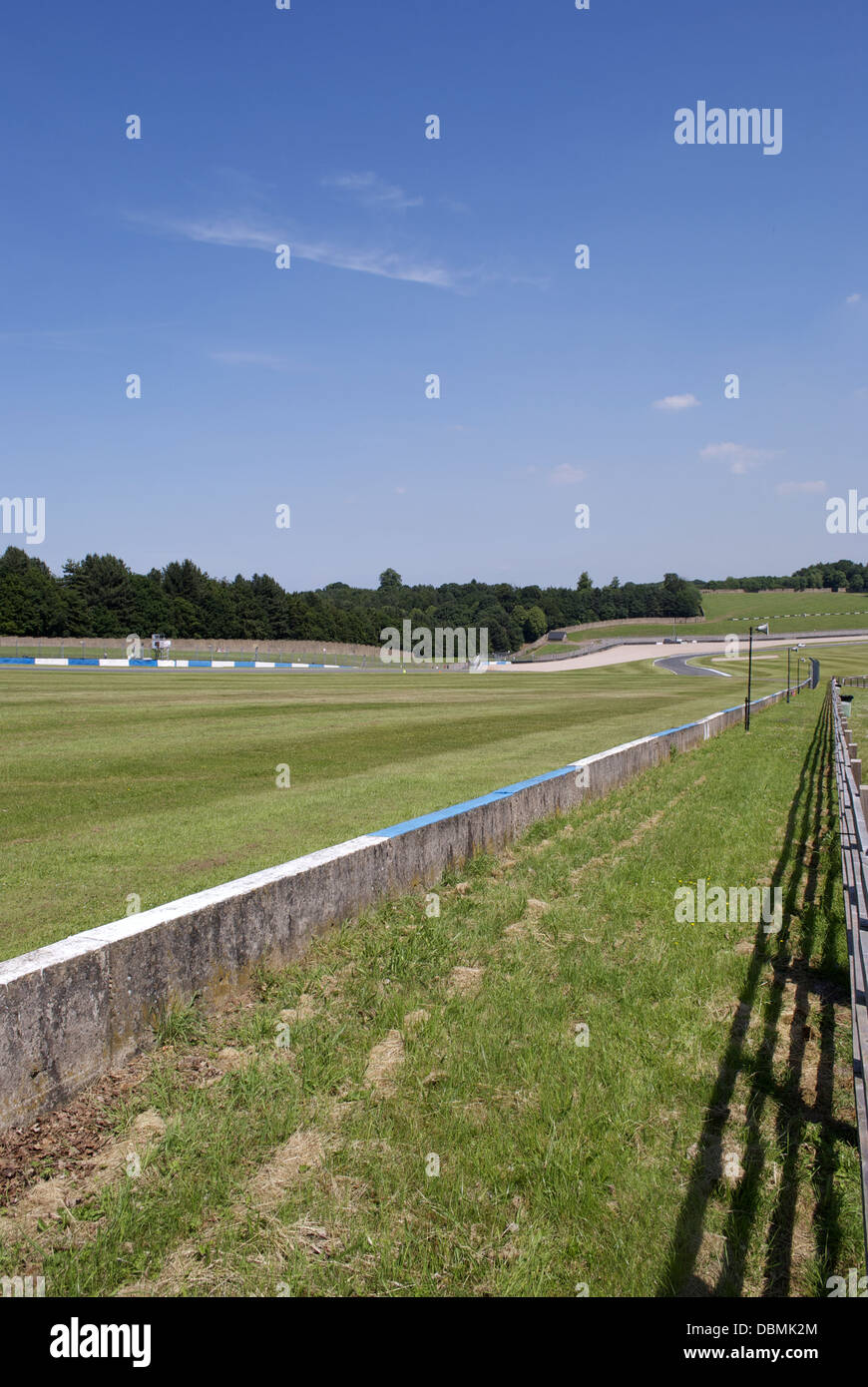 downhill stretch at donnington park race track Stock Photo