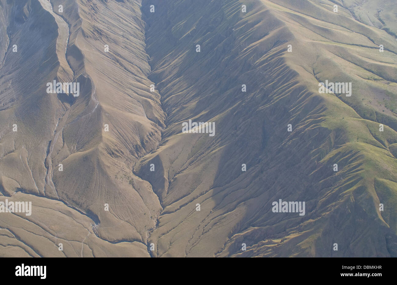 Aerial view of eroding volcanic ash in Rift Gregory (part of the East African Rift Valley) next to the volcano Oldoinyo Stock Photo