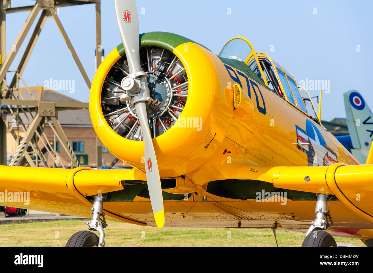 Close-up view of the nose of a North American T6 Texan showing the cylinders of its radial piston engine - Stock Image