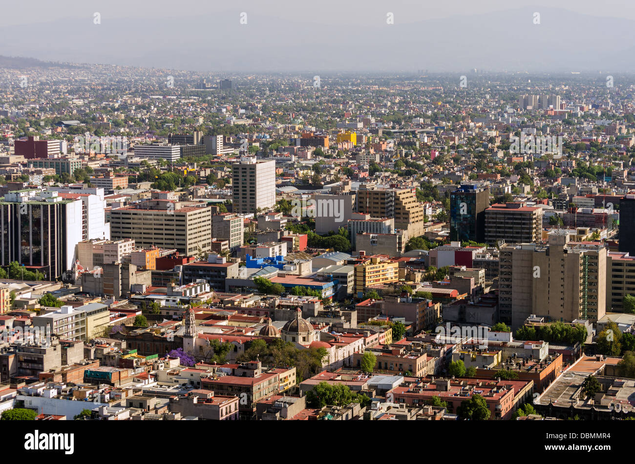 Wide angle cityscape of Mexico City - Stock Image
