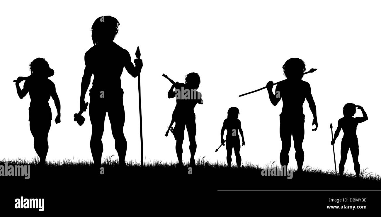 Illustrated silhouettes of cavemen hunters on patrol - Stock Image