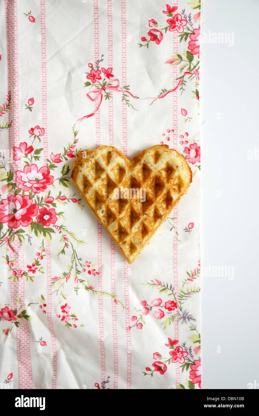 Heart Shaped Waffle, Munich, Bavaria, Germany, Europe Stock Photo