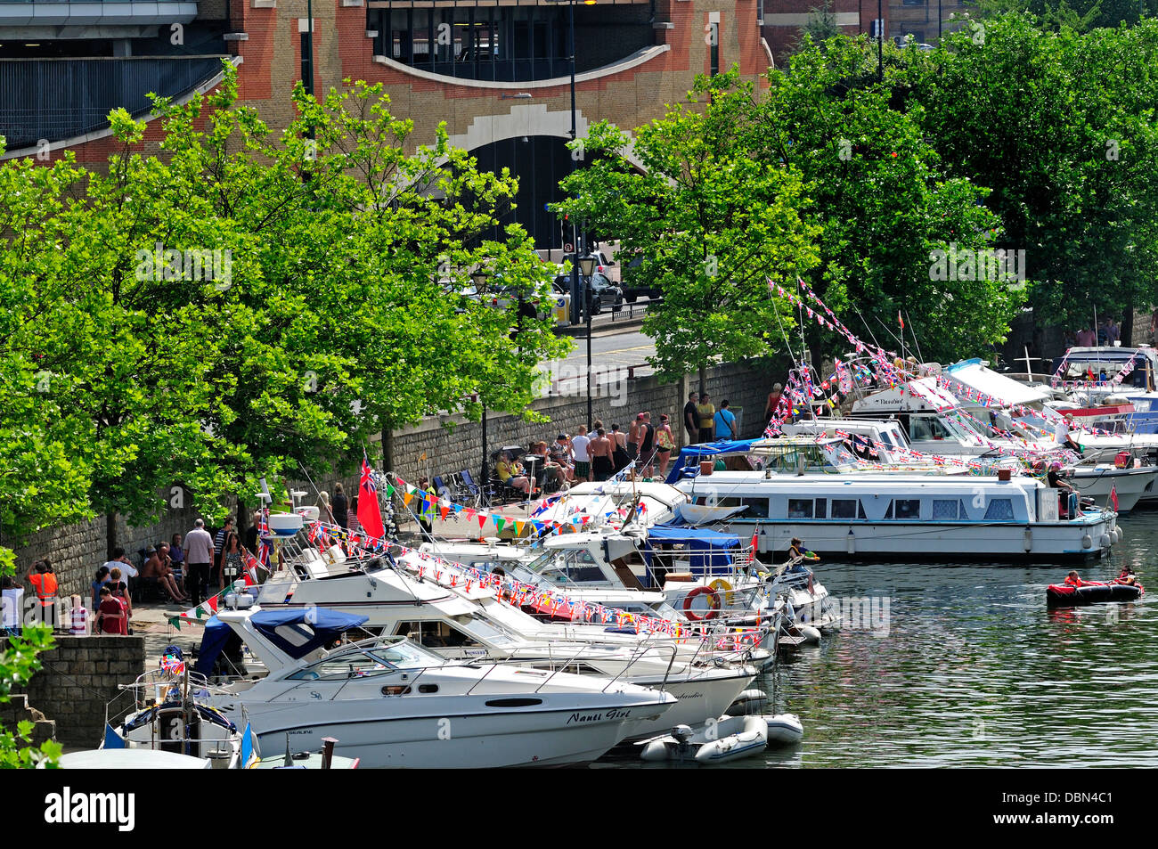 Maidstone, Kent, England, UK. Annual Maidstone River Festival (July 27th 2013) Boats moored along the bank of the Stock Photo