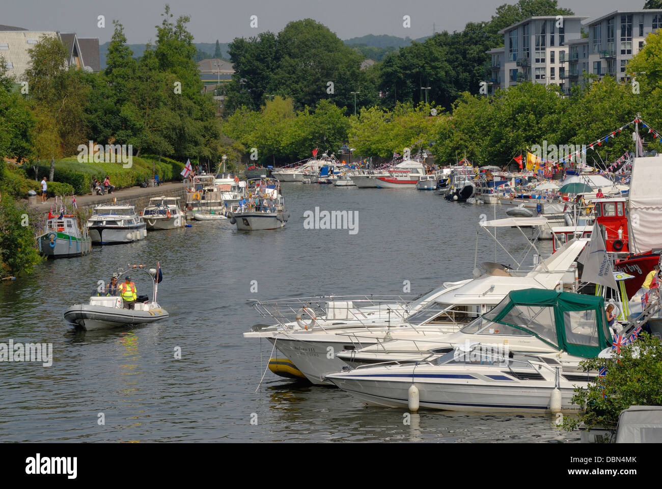 Maidstone, Kent, England, UK. Annual Maidstone River Festival (July 27th 2013) Boats moored on the Medway. Stock Photo