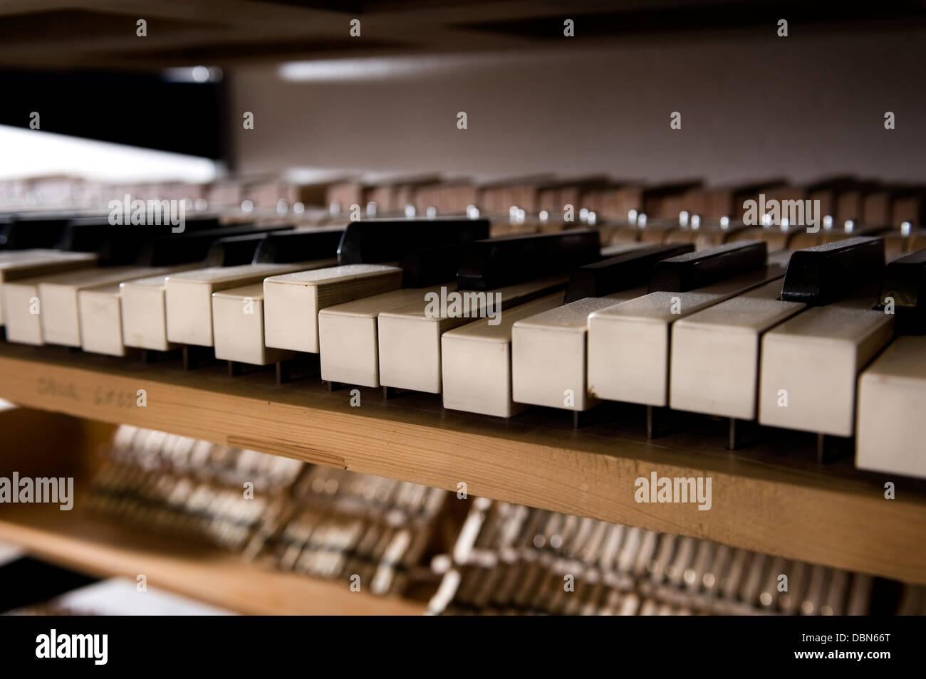 Musical mechanism of a piano, Regensburg, Bavaria, Germany - Stock Image