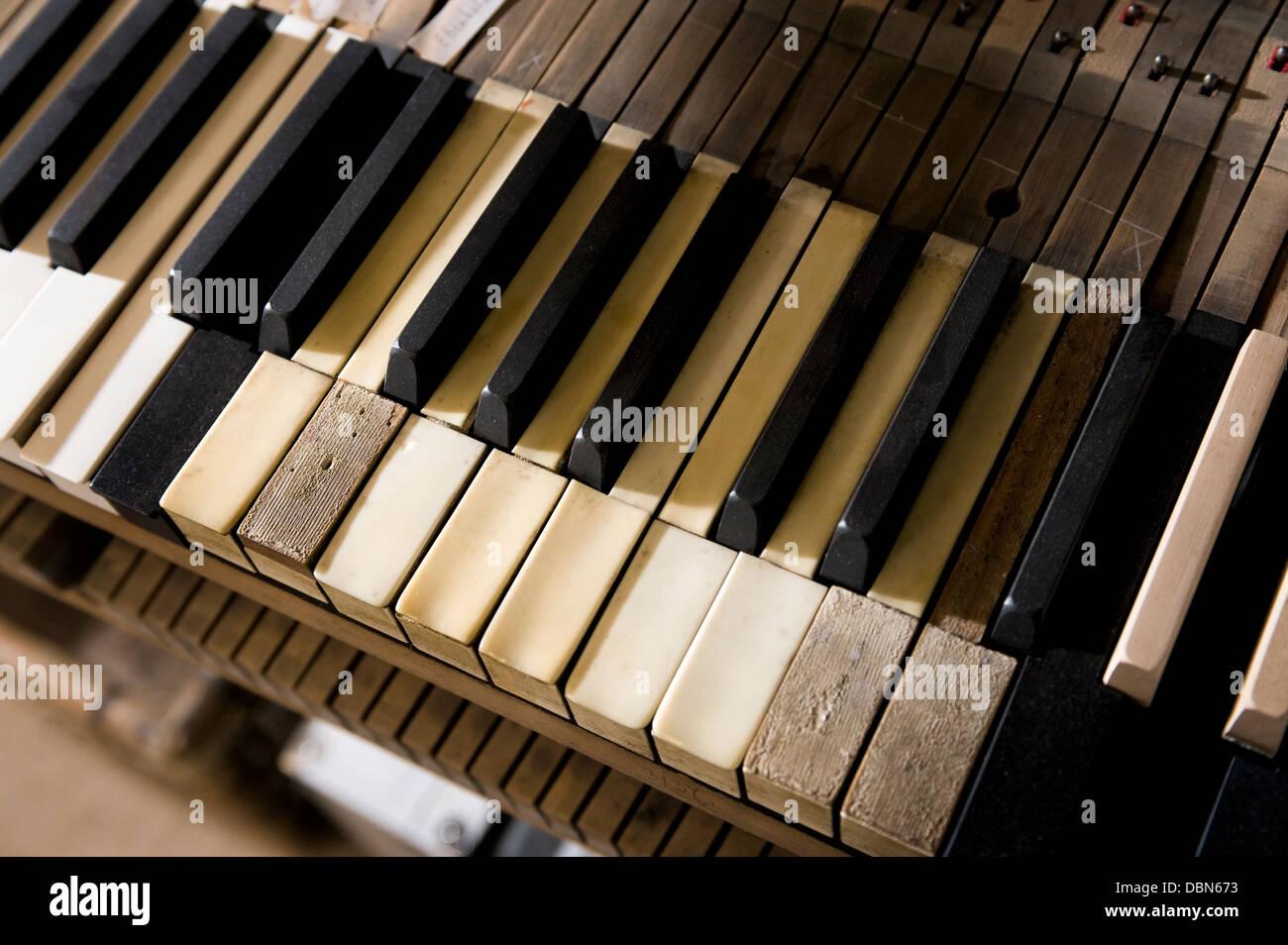 Used Piano keys, Regensburg, Bavaria, Germany Stock Photo