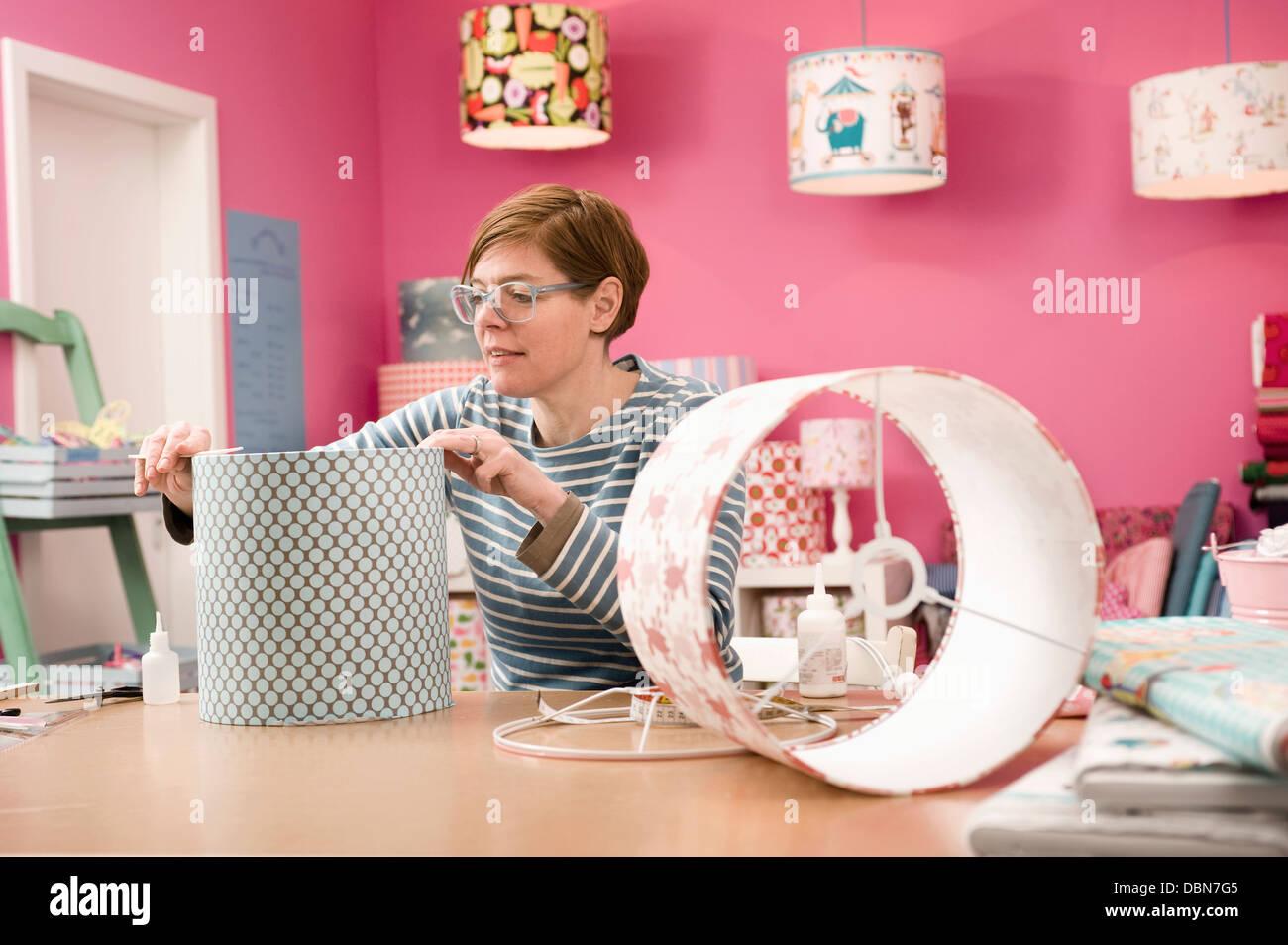 Making A Custom Lampshade, Munich, Bavaria, Germany, Europe - Stock Image