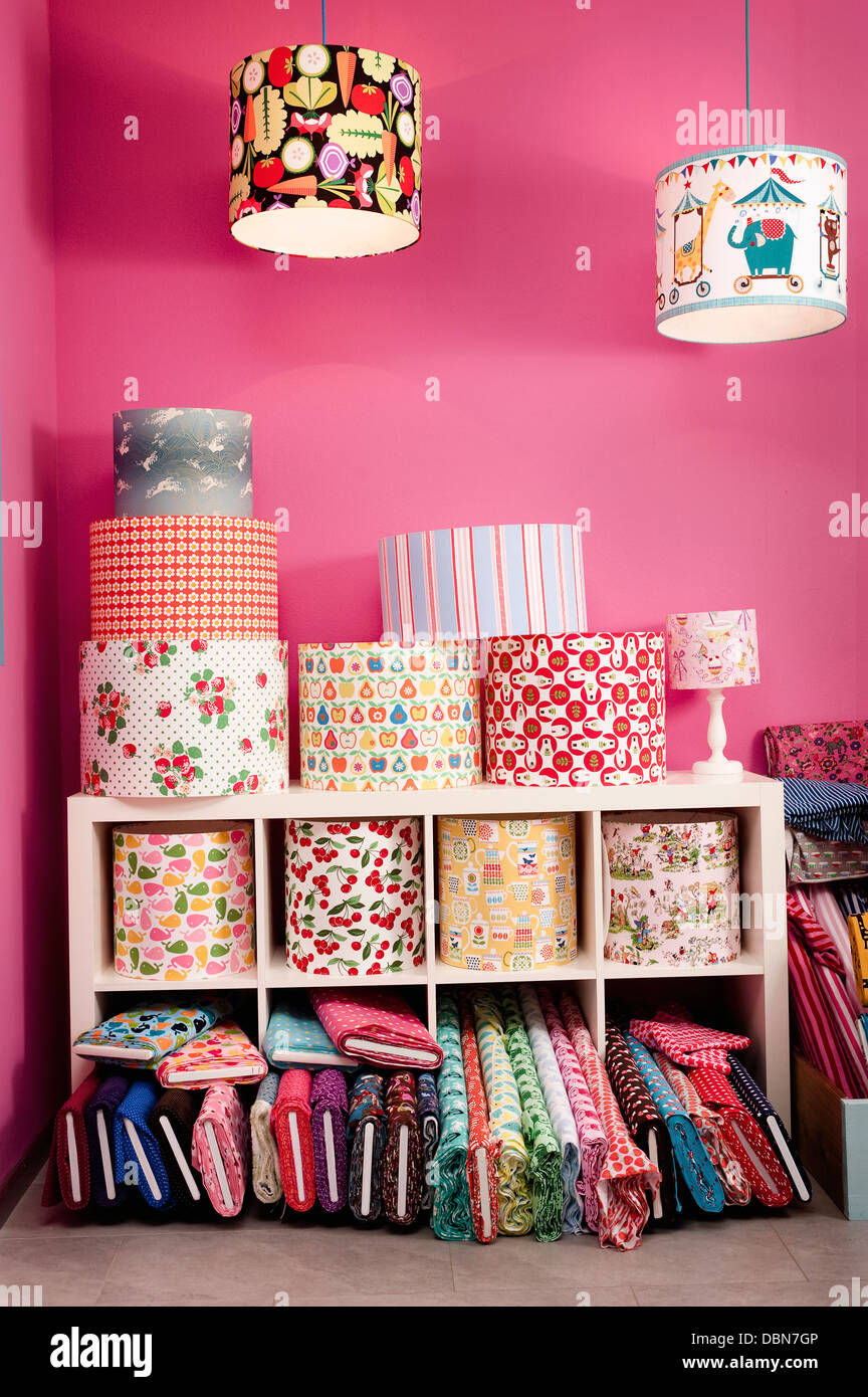 Custom Lampshades And Rolls Of Fabric In Store, Munich, Bavaria, Germany, Europe - Stock Image