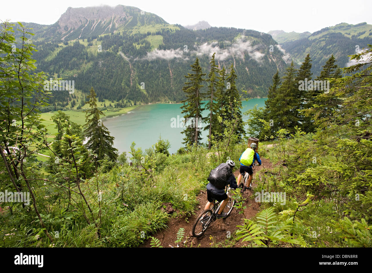 Two Mountain Bikers, Schattwald, Bavaria, Germany - Stock Image