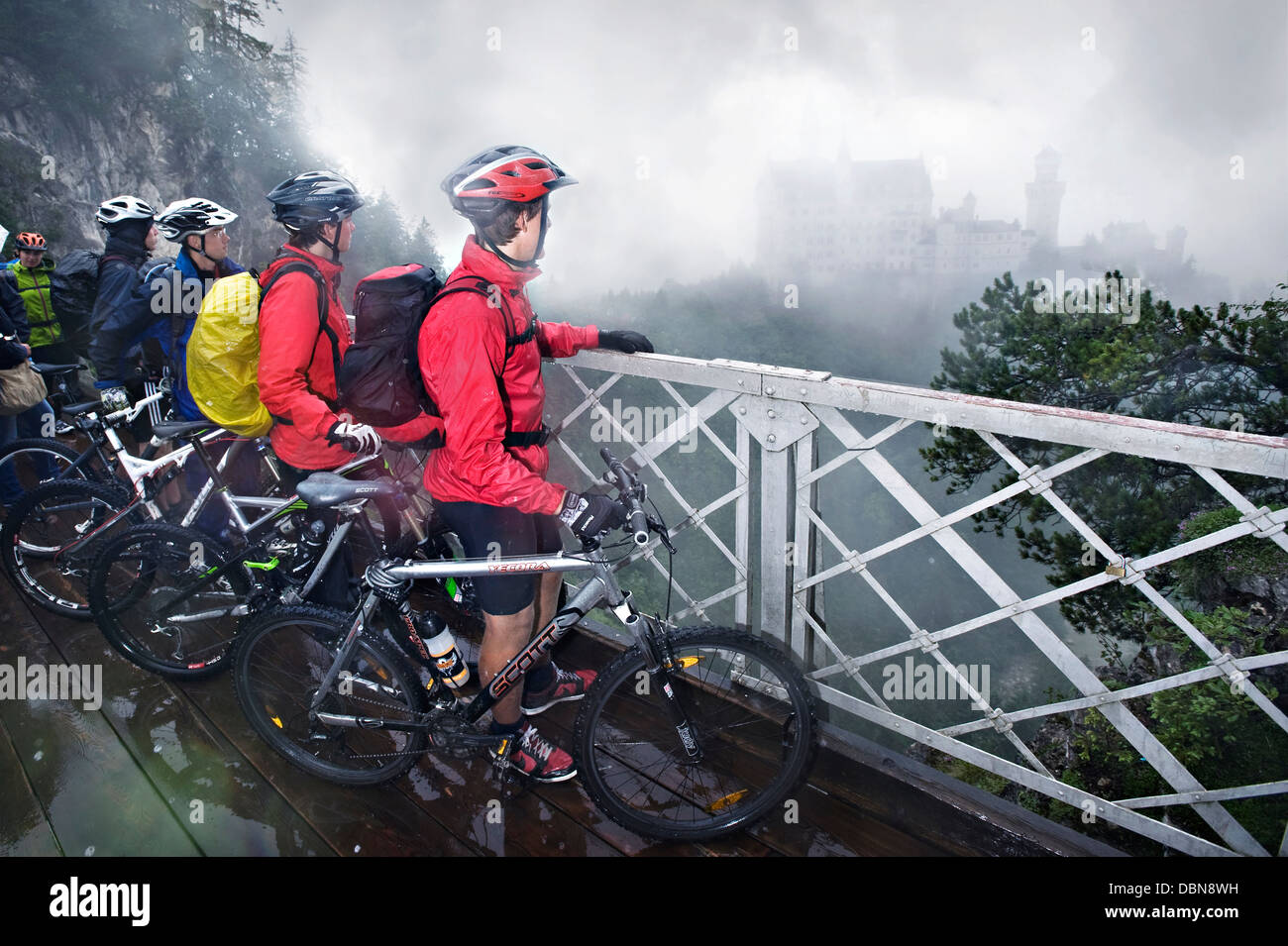Group Of Mountain Bikers, Schwangau-Bleckenau, Bavaria, Germany - Stock Image