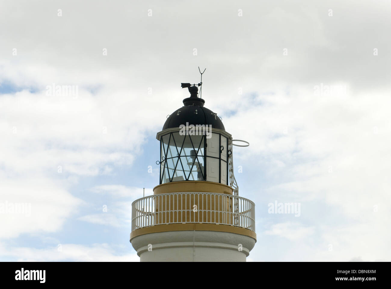 The top of the lighthouse at Chanonry Point on the Black Isle in north Scotland - Stock Image