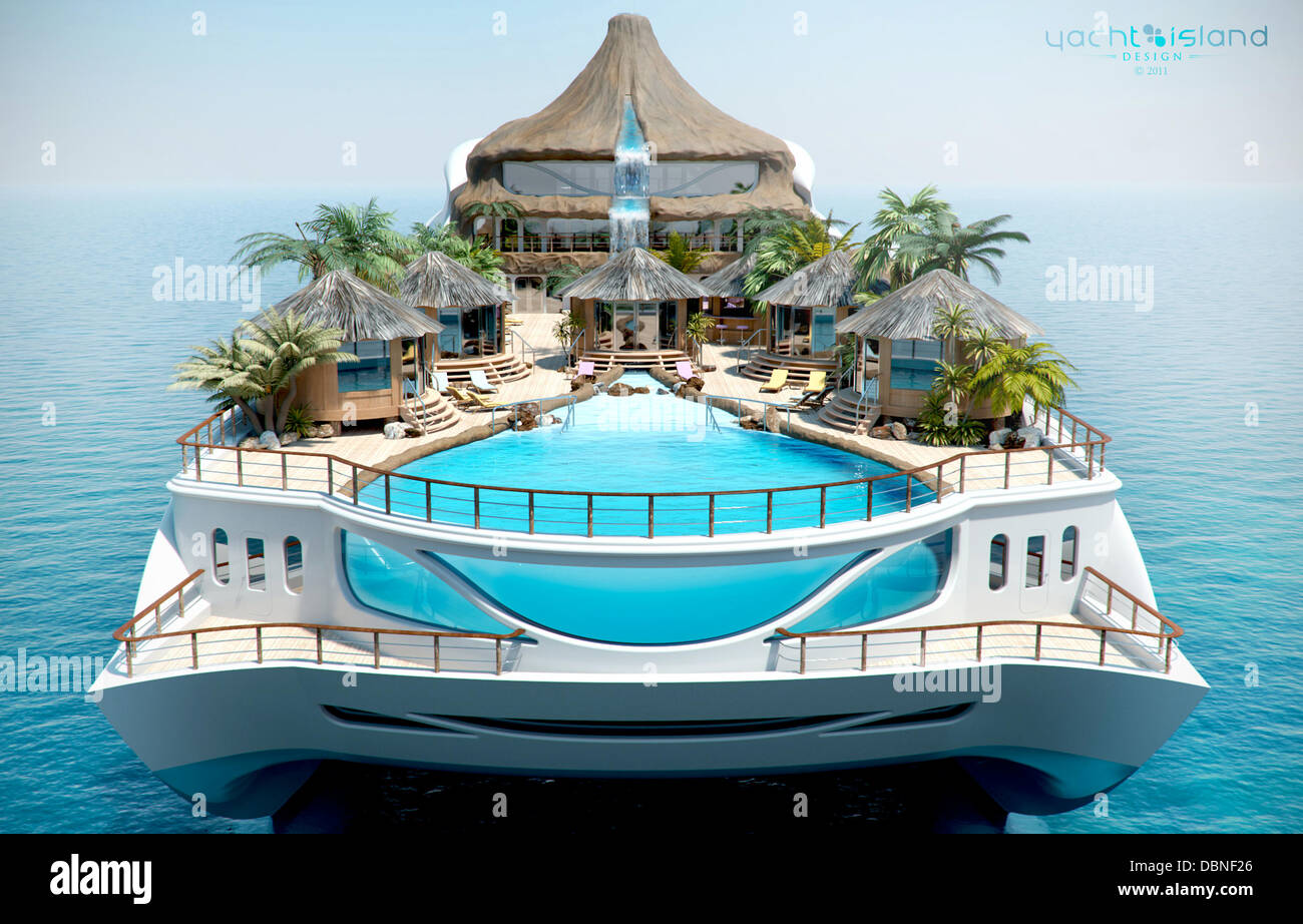LUXURY YACHT COMES WITH ITS OWN PALMS, POOL, HELIPAD AND