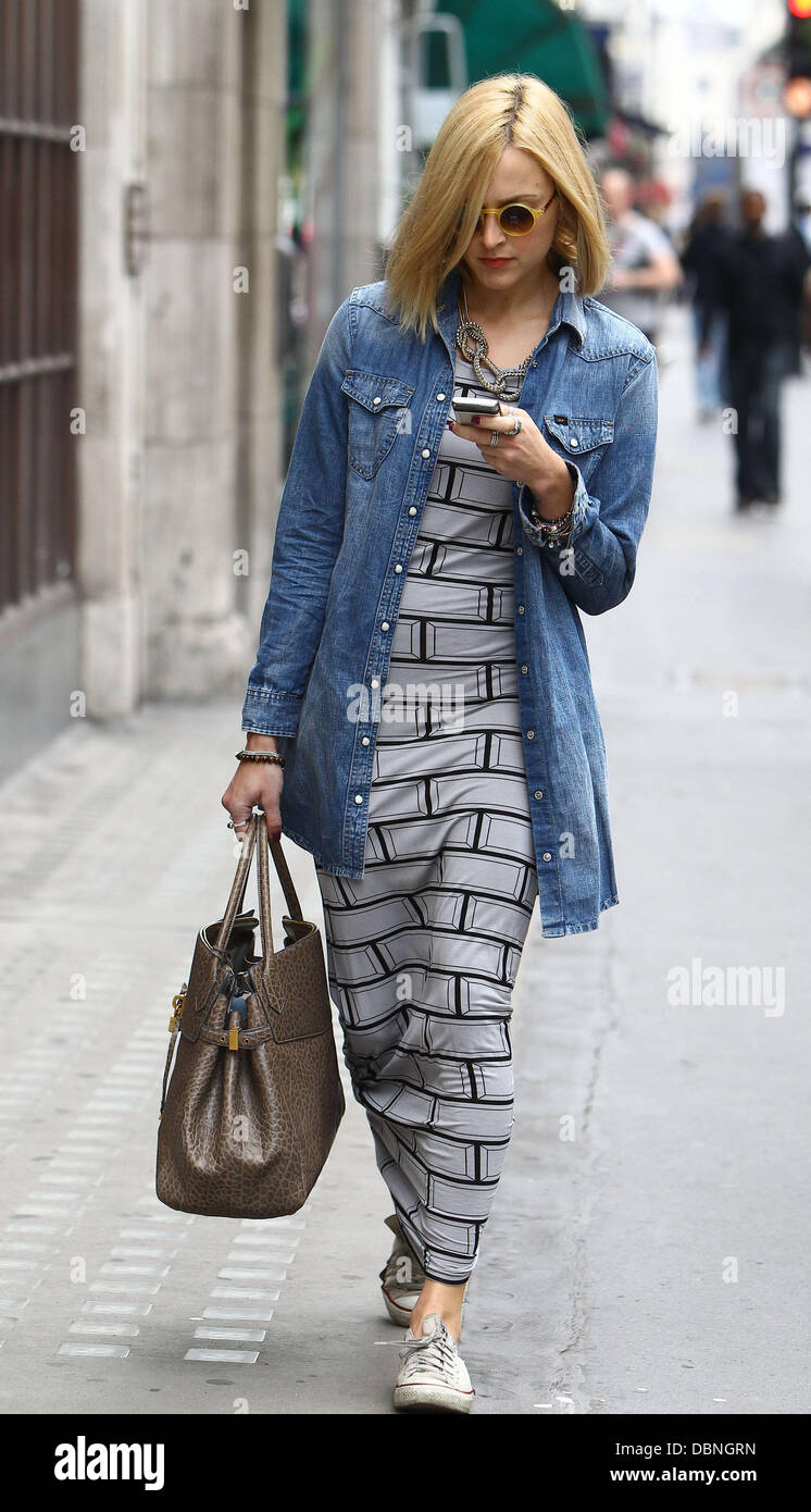 0b53030befba Fearne Cotton wearing a brick patterned maxi dress and an oversized denim  shirt arriving at the BBC Radio One studios London, England - 29.07.11