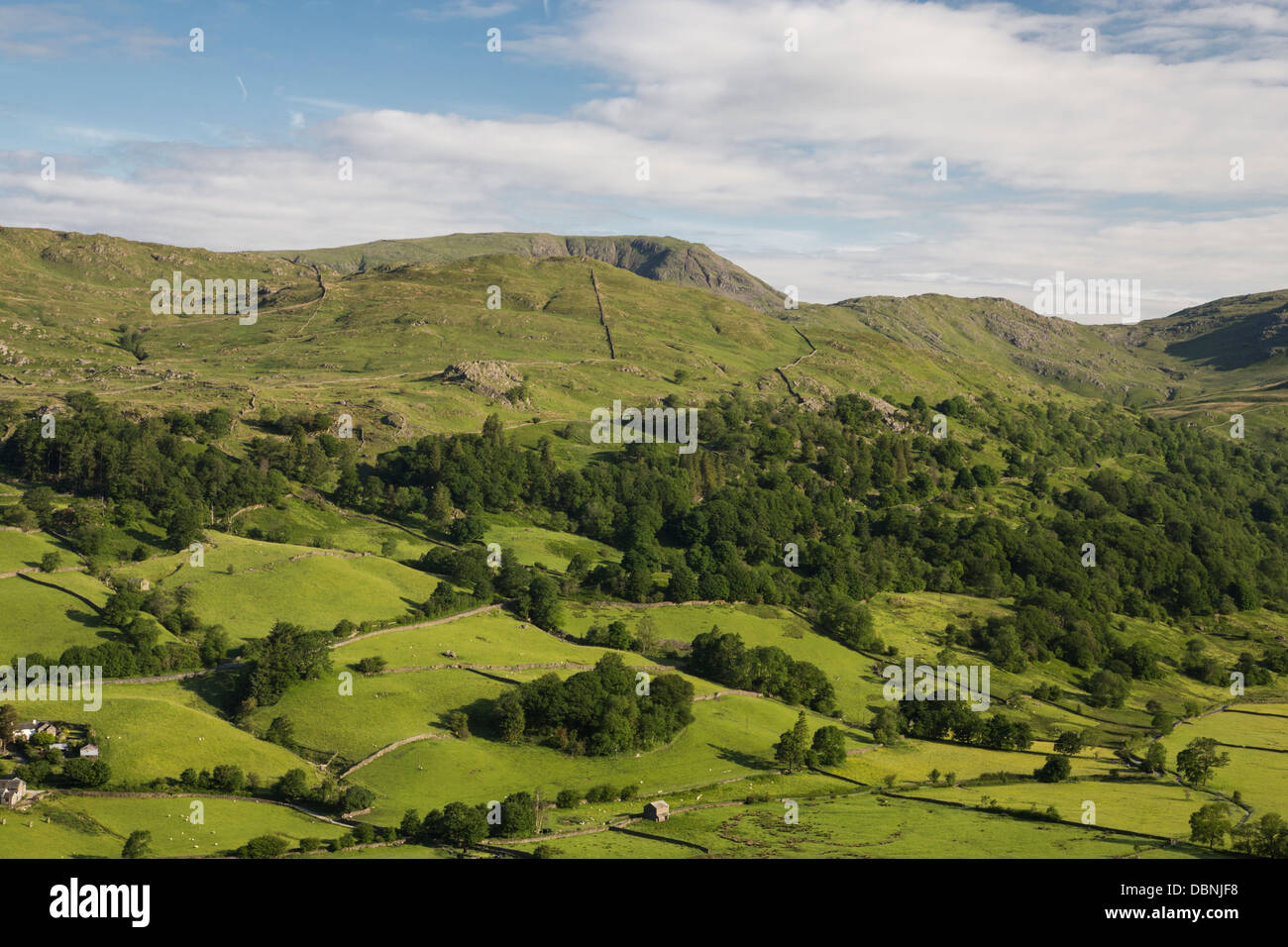 Red screes across Troutbeck valley - Stock Image