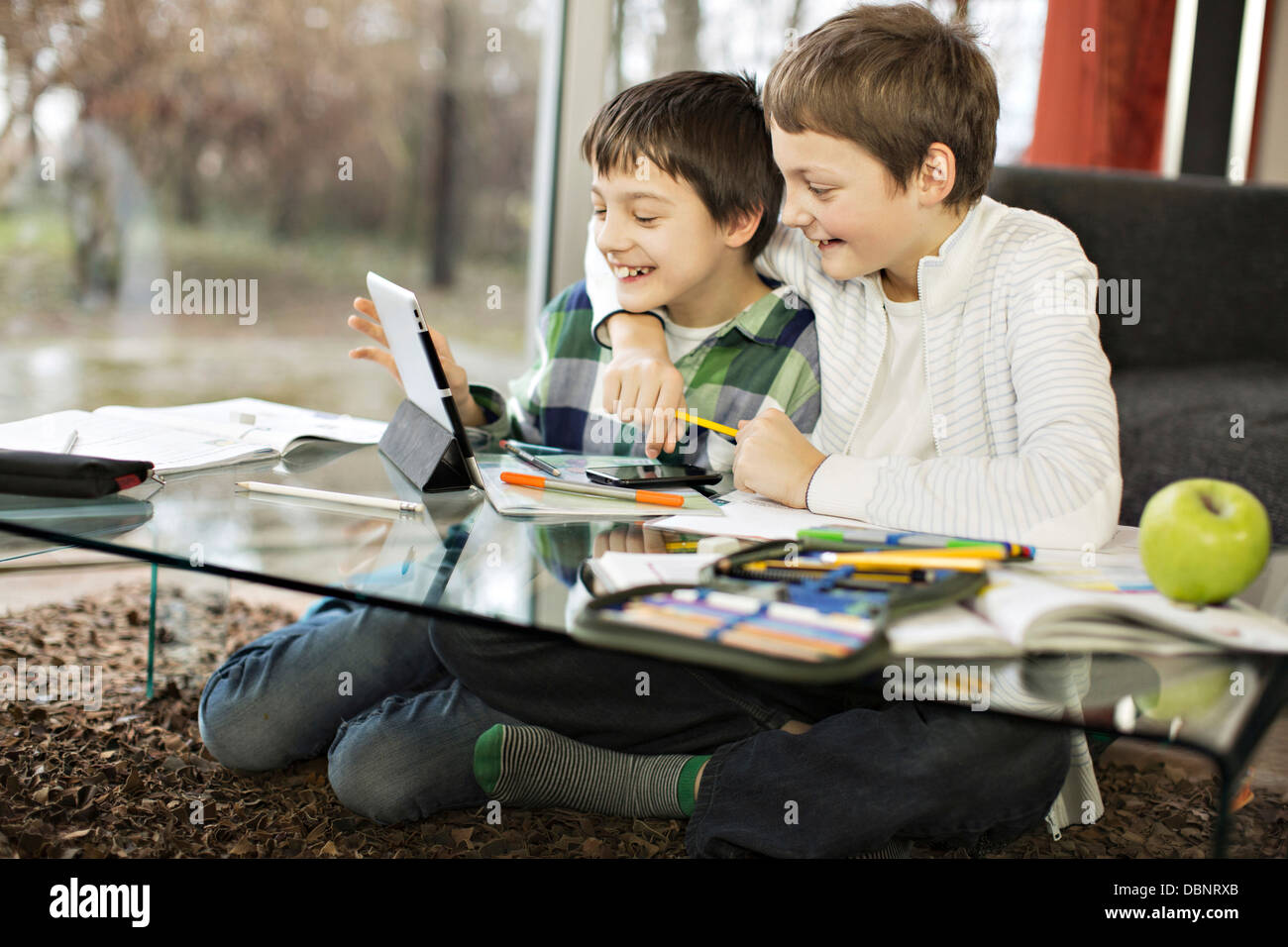 Two boys using digital tablet, Osijek, Croatia, Europe Stock Photo