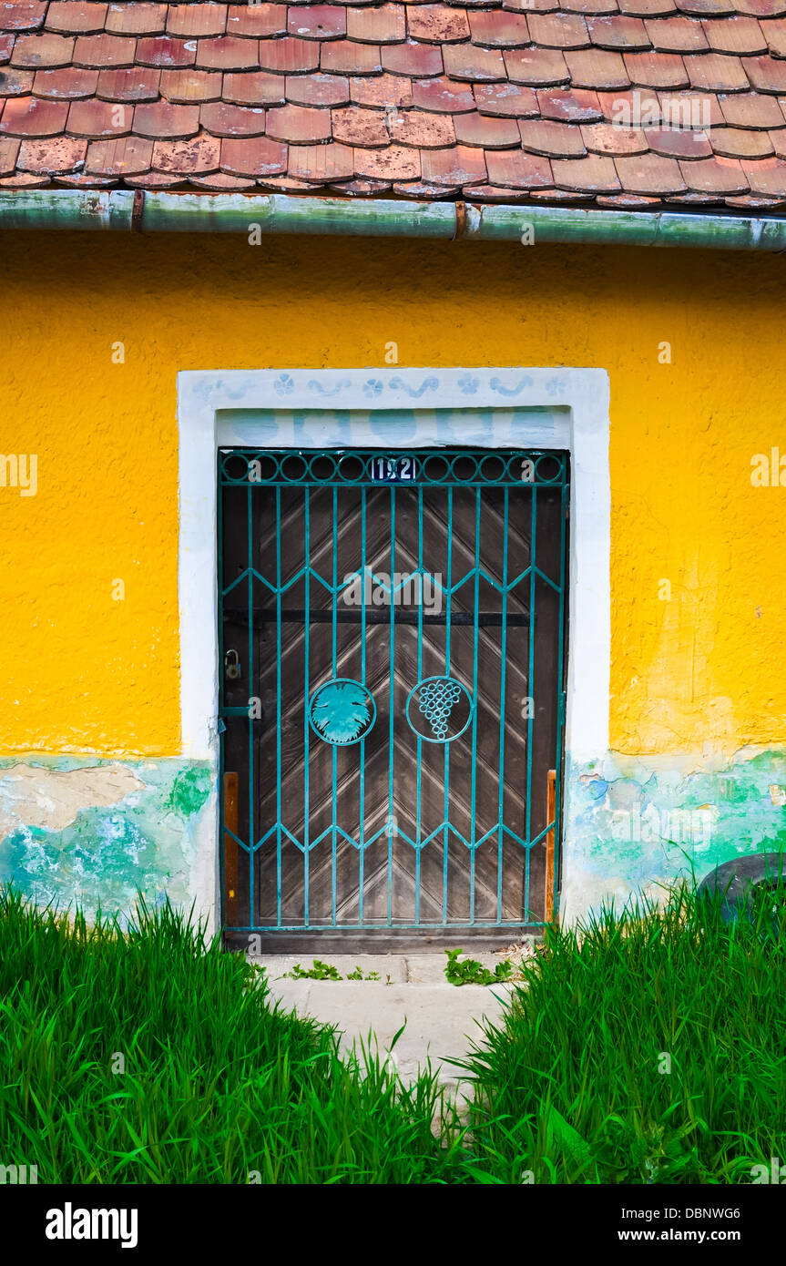 Old rusty door on yellow wall Stock Photo